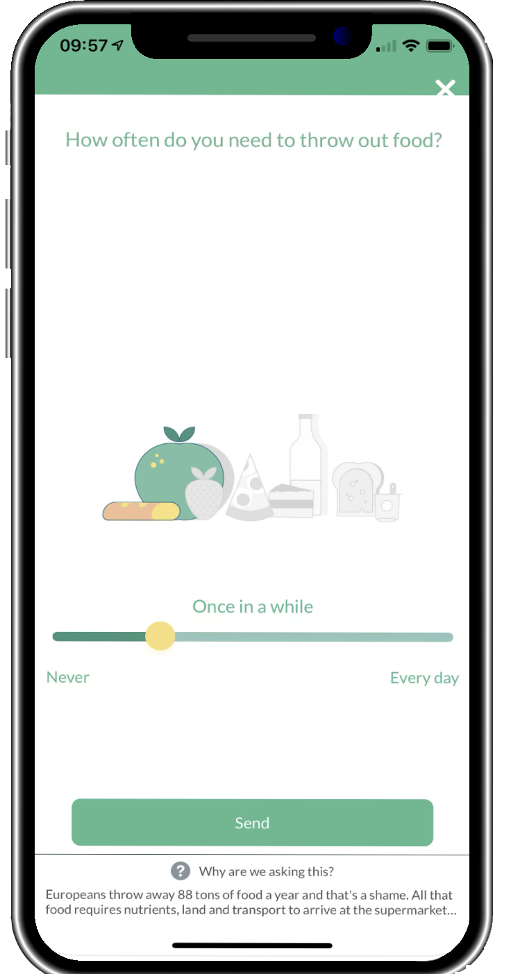 The ForGood app helps you to reduce your CO2 Footprint by asking specific questions